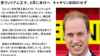 news英ウィリアム王子、2月に来日へ キャサリン妃同行せず