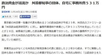 news政治資金が還流か 舛添都知事の団体、自宅に事務所費531万円