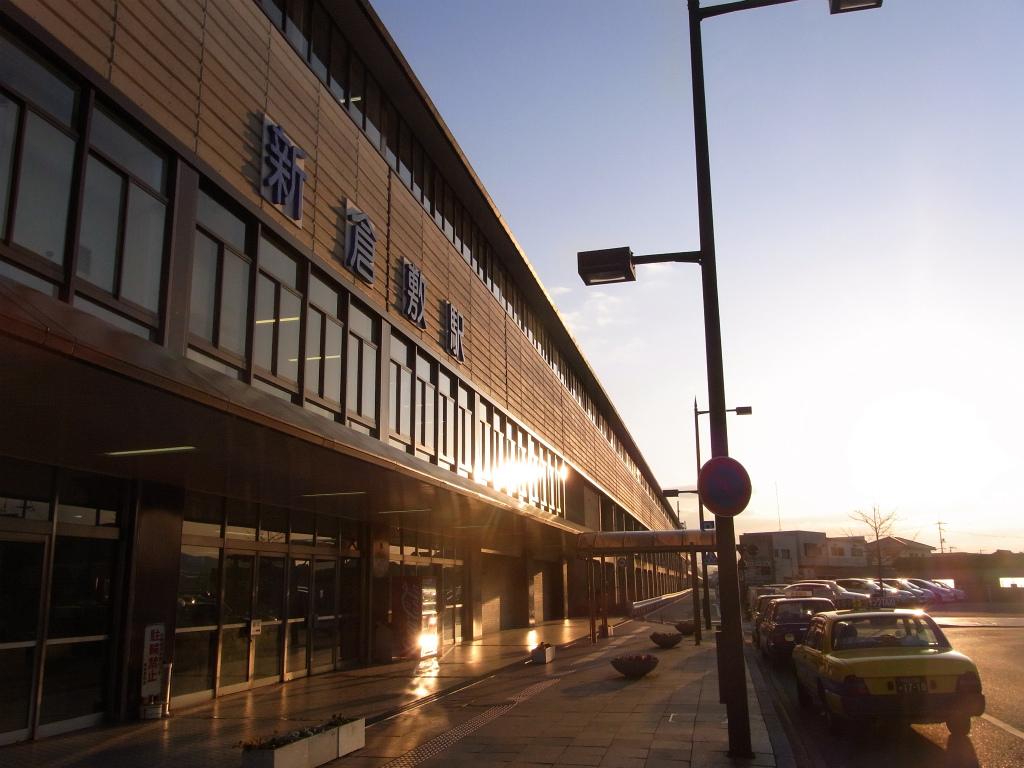 新倉敷駅の夕日。