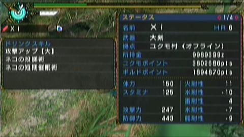双雷×大剣(9分58秒)ステータス 短期