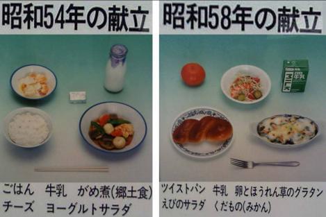 静岡県東部地方小中学校昭和54年と昭和58年の献立写真画像
