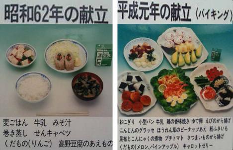 静岡県東部地方の小中学校給食昭和62年と平成元年の献立写真画像