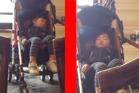 キャバ嬢と待ち合わせ時にガスト店内で気持ち良さそうに眠る幼き女の子をシャメした2つの画像