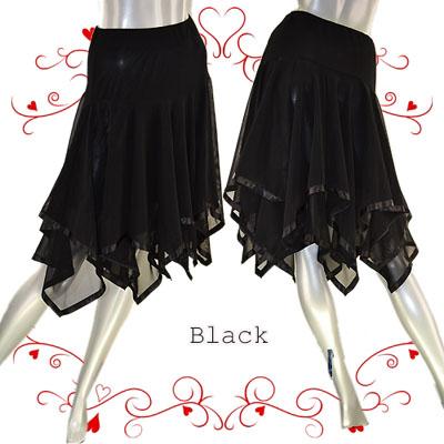 裾2段サテンテープ付きギザギザスカート