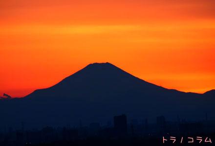 夕日と富士山~
