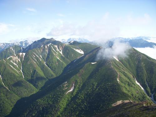 常念岳から大天井岳