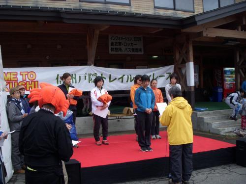 戸隠トレイルレース 女子ロング表彰式
