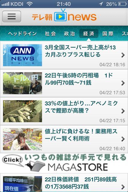テレ朝news 経済