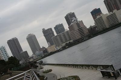 勝鬨橋下の護岸