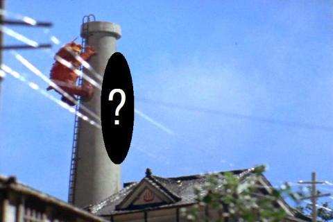 煙突に登るタイショー