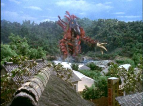 水浴びをしている、火山怪鳥 バードン