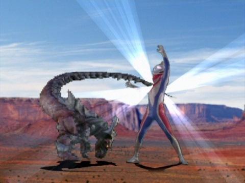 ゲームの中で戦うウルトラマンダイナとデマゴーグ
