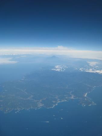 空から富士山。