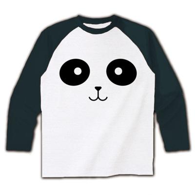 パンダフェイス ラグラン長袖Tシャツ(ホワイト×ブラック)