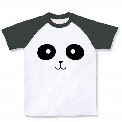 パンダフェイス ラグランTシャツ (ホワイト×ブラック)