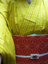 黄色い紬と刺し子の帯0001.jpg