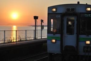 夕日と電車