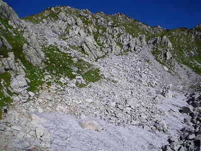 雪の残る鬼岳東面