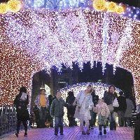 鴎外橋の「光のトンネル」を楽しむ人たち