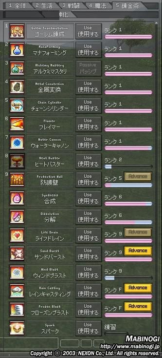 錬金スキル(7月8日)