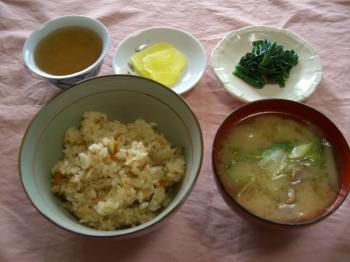 20110118学生シェフの日五目御飯&トン汁ブログ