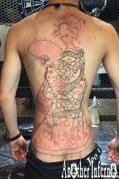 花魁 刺青 タトゥー TATTOO 名古屋栄 背中 バックピース