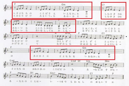 水色の恋楽譜ジャケット類似旋律