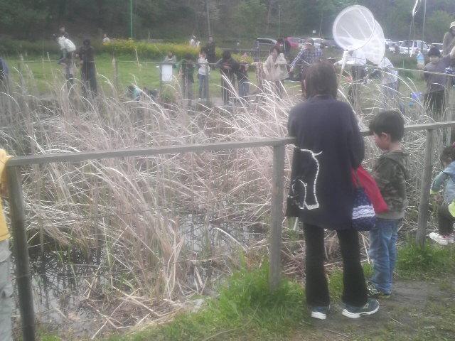 ザリガニ釣りをする人たち