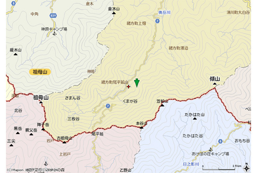祖母山地図