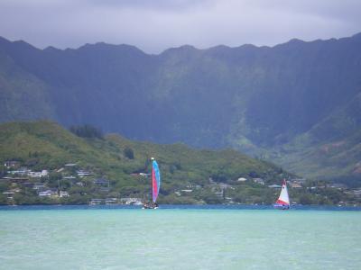 ハワイ2012.7サンドバーとヨット