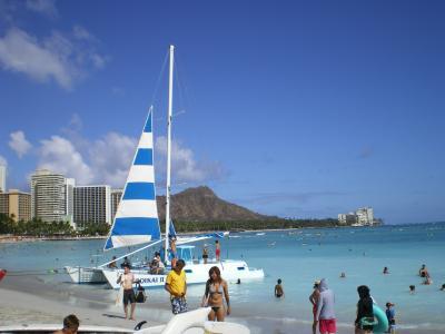 ハワイ2012.7ワイキキビーチとヨット