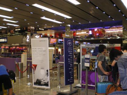 シンガポール2013.3チャンギ空港デルタ航空カウンター