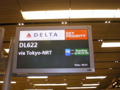 シンガポール2013.3チャンギ空港デルタ航空チェックイン案内