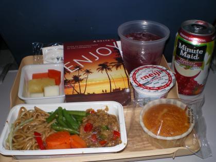 シンガポール2013.3デルタ航空622便機内食1回目