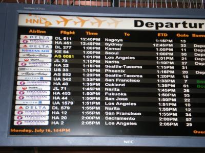 ハワイ2012.7・帰国(出発案内ボード)