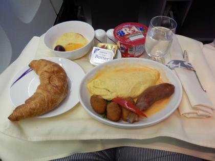 ハワイ2013.7チャイナエアビジネス機内食朝食