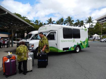 ハワイ2013.7ホノルル空港迎えバス
