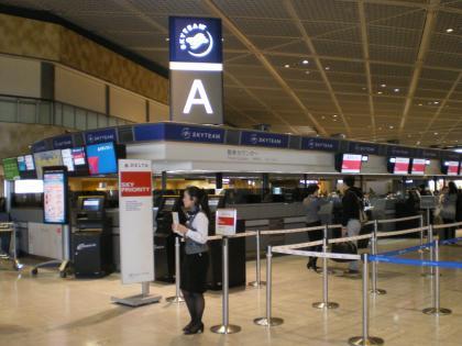 シンガポール2013.1デルタ航空チェックインカウンター