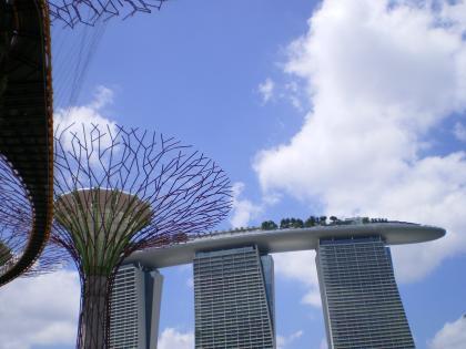 シンガポール2013.1スーパーツリーとマリーナベイサンズ
