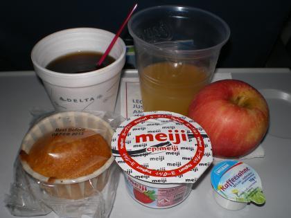 シンガポール2013.1デルタ航空成田行機内食1食目
