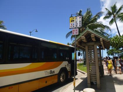 ハワイ2013.7市バス停留所