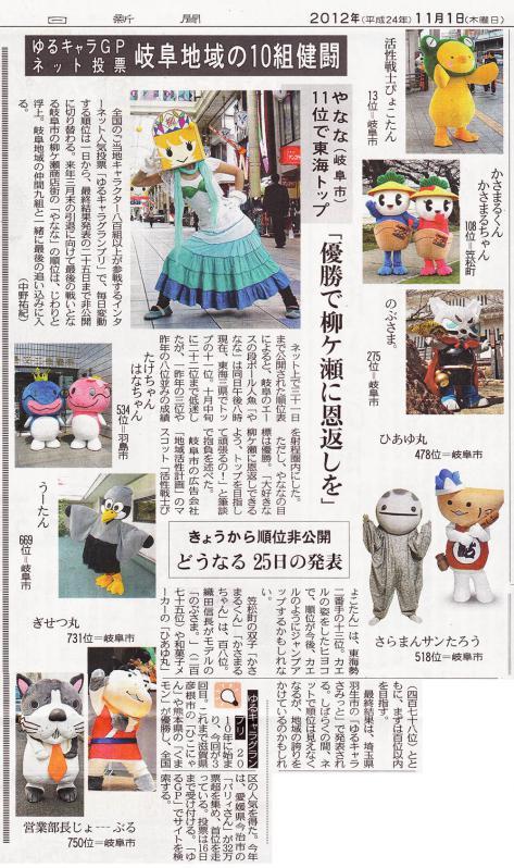 2012_11_1中日新聞ゆるキャラグランプリ小