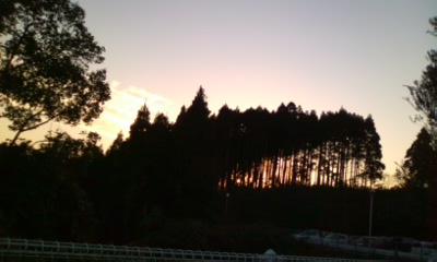 施設の夕景