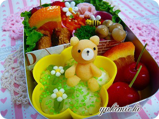 お花畑のくまちゃん☆なお弁当♪