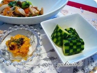 ごまぽんきゅうりとチンゲン菜の炒め物なご飯♪