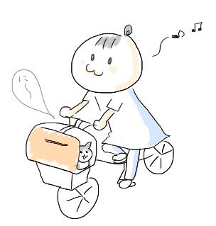 1歳ワクチン、自転車で行く。
