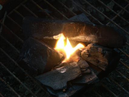 炭に点火を確認