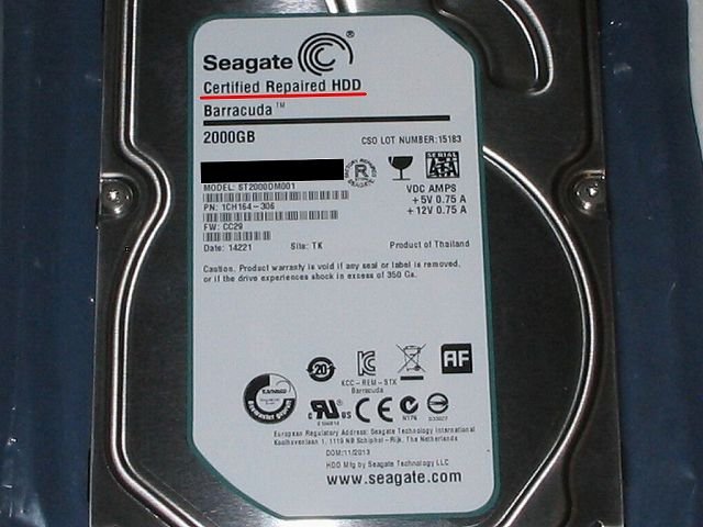 Seagate HDD RMA 交換品 HDD のラベルと Certified Repaired HDD 表記