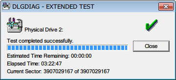 Seagate HDD ST2000DM001(Certified Repaired HDD) Data Lifeguard Diagnostic EXTENDED TEST PASS 1 回目