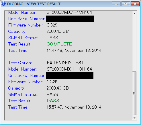 Seagate HDD ST2000DM001(Certified Repaired HDD) Data Lifeguard Diagnostic EXTENDED TEST PASS - VIEW TEST RESULT 2 回目